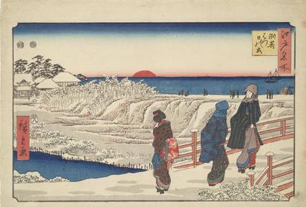 歌川広重: New Year's Sunrise at Susaki, from the series Famous Places in Edo - ウィスコンシン大学マディソン校