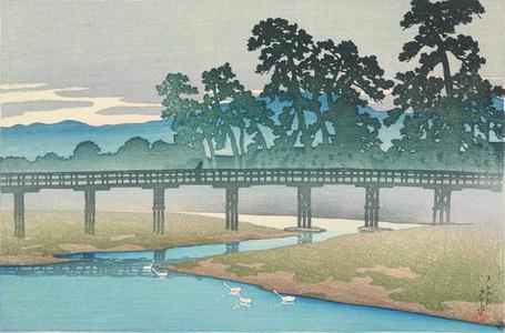 川瀬巴水: Asano River, Kanazawa, from the series Souvenirs of Travel, First Series - ウィスコンシン大学マディソン校