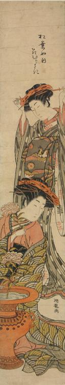 Isoda Koryusai: The Courtesan Hanamurasaki of the Matsuba Establishment Arranging Flowers in an Urn, from a series of Portraits of Courtesans - University of Wisconsin-Madison