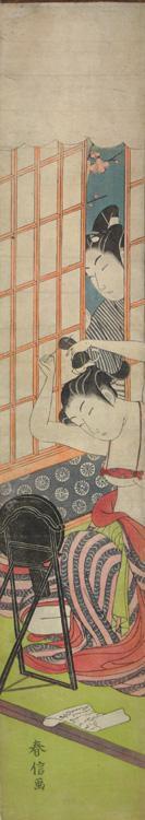 鈴木春信: Young Man Watching a Woman Arrange Her Hair - ウィスコンシン大学マディソン校