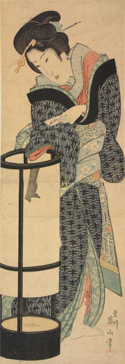 Kikugawa Eizan: Geisha Adjusting a Lantern - University of Wisconsin-Madison