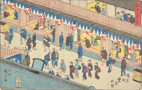 歌川広重: A Crowded Street at Saruwakacho, from the series Famous Places in Edo - ウィスコンシン大学マディソン校