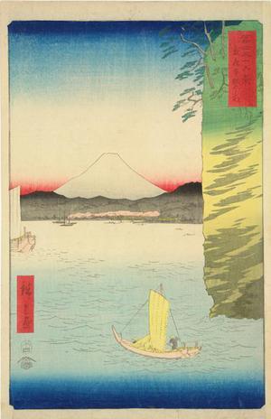 歌川広重: Cherry Blossoms at Hommoku in Musashi Province, no. 16 from the series Thirty-six Views of Mt. Fuji - ウィスコンシン大学マディソン校