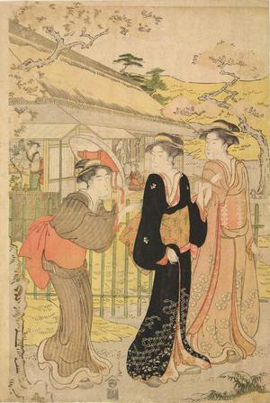 細田栄之: Three Women Strolling in a Garden - ウィスコンシン大学マディソン校