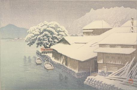 川瀬巴水: Ishinomaki in the Snow, from the series Collection of Scenic Views of Japan, Eastern Japan Edition - ウィスコンシン大学マディソン校