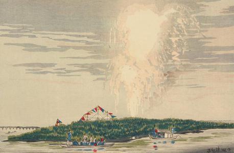 小林清親: Fireworks over the Water at Nakazu on the Sumida River - ウィスコンシン大学マディソン校