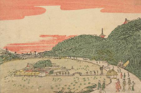 北尾政美: View of the Benten Shrine at Shinobazu Pond, from a series of Small Perspective Views of the Eastern Capital - ウィスコンシン大学マディソン校