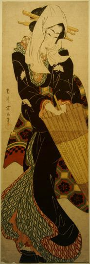 菊川英山: Geisha with Umbrella - ウィスコンシン大学マディソン校