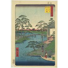 歌川広重: Mokuboji and Vegetable Fields by the Uchi River, no. 92 from the series One-hundred Views of Famous Places in Edo - ウィスコンシン大学マディソン校