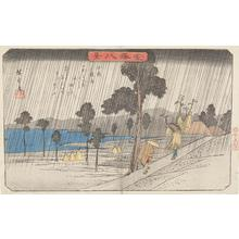 歌川広重: Night Rain at Koizumi, from the series Eight Views of Kanazawa - ウィスコンシン大学マディソン校