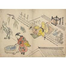 奥村政信: The Immortal Kume as a Roof Thatcher, no. 5 from a series of Humorous Modern Versions of Traditional Subjects - ウィスコンシン大学マディソン校