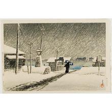 川瀬巴水: Snow at Tsukijima, from the series Twenty Views of Tokyo - ウィスコンシン大学マディソン校