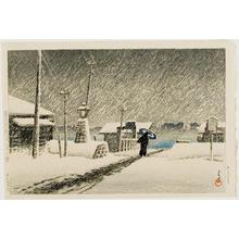 Kawase Hasui: Snow at Tsukijima, from the series Twenty Views of Tokyo - University of Wisconsin-Madison