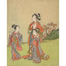 Suzuki Harunobu: Courtesan Strolling with Two Child Attendants - University of Wisconsin-Madison