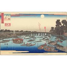 歌川広重: Summer Moon at Ryogoku, from the series Three Views of Famous Places in Edo - ウィスコンシン大学マディソン校