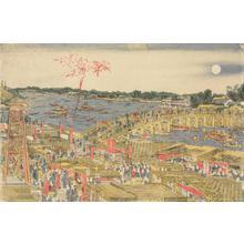 Katsushika Hokusai: A Newly Published Perspective Picture of People Watching Fireworks and Enjoying the Evening Cool at Ryogoku Bridge - University of Wisconsin-Madison