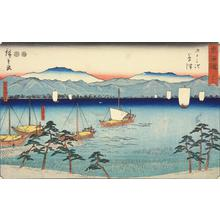 Utagawa Hiroshige: The Tabase Ferry and Lake Biwa near Kusatsu, no. 53 from the series Fifty-three Stations of the Tokaido (Marusei or Reisho Tokaido) - University of Wisconsin-Madison
