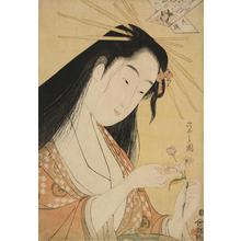 細田栄之: Courtesan as the Poetess Ono no Komachi, Cherry Blossom from the series Flowers and the Six Immortal Poets in Modern Dress - ウィスコンシン大学マディソン校