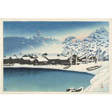 Kawase Hasui: Snowy Dawn at the Port of Ogi, Sado, from the series Souvenirs of Travel, Second Series - University of Wisconsin-Madison