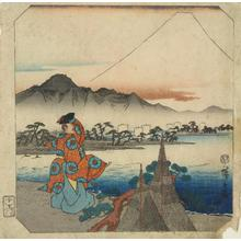 Utagawa Hiroshige: Poet viewing Mt. Fuji, from the series Fifty-three Pairs for the Tokaido Road - University of Wisconsin-Madison