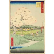 Utagawa Hiroshige: Yoshitsune's Cherry Tree and the Shrine to Noriyori at Ishiyakushi, no. 45 from the series Pictures of the Famous Places on the Fifty-three Stations (Vertical Tokaido) - University of Wisconsin-Madison