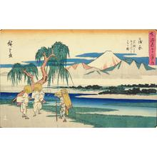 歌川広重: The Fuji River from Iwafuchi near Kambara, no. 16 from the series Fifty-three Stations of the Tokaido (Gyosho Tokaido) - ウィスコンシン大学マディソン校