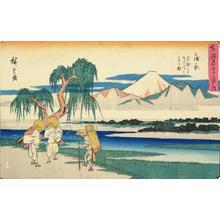 歌川広重: The Fuji River from Iwafuchi near Kambara, no. 16 from the series Fifty-three Stations of the Tokaido (Gyosho Tokaido) - ウィスコンシン大学マディソン校