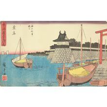 Utagawa Hiroshige: Entrance to the Seven Ri Marine Ferry at Kuwana, no. 43 from the series Fifty-three Stations of the Tokaido (Gyosho Tokaido) - University of Wisconsin-Madison