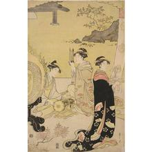 細田栄之: Women Preparing for a Musical Performance, from the series The Tale of Genji in Elegan Modern Dress - ウィスコンシン大学マディソン校