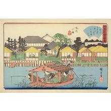 歌川広重: The Oguraan Restaurant at Koume in the Honjo District, from the series Famous Restaurants in Edo - ウィスコンシン大学マディソン校
