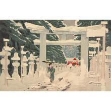 小林清親: A Picture of Deep Snow at Tosho Shrine at Ueno - ウィスコンシン大学マディソン校