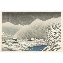 川瀬巴水: In the Snow, Nakayama-shichiri Road, Hida, from the series Souvenirs of Travel, Third Series - ウィスコンシン大学マディソン校