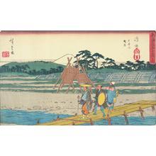 歌川広重: The Suruga Bank of the Oi River at Shimada, no. 24 from the series Fifty-three Stations of the Tokaido (Gyosho Tokaido) - ウィスコンシン大学マディソン校