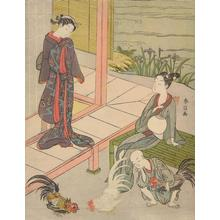 Suzuki Harunobu: Young Couple and Boy Watching a Cock Fight - University of Wisconsin-Madison