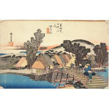 歌川広重: Shimmachi Bridge at Hodogaya, no. 5 from the series Fifty-three Stations of the Tokaido (Hoeido Tokaido) - ウィスコンシン大学マディソン校