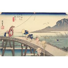 Utagawa Hiroshige: Distant View of Mt. Akiba from Kakegawa, no. 27 from the series Fifty-three Stations of the Tokaido (Hoeido Tokaido) - University of Wisconsin-Madison