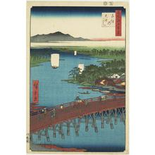 歌川広重: The Great Bridge at Senju, no. 103 from the series One-hundred Views of Famous Places in Edo - ウィスコンシン大学マディソン校