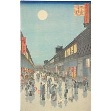 歌川広重: Night View of Saruwakacho, no. 90 from the series One-hundred Views of Famous Places in Edo - ウィスコンシン大学マディソン校
