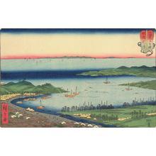 歌川広重: Niigata in Echigo Province, no. 4 from the series Mountains and Seas in a Wrestling Tournament - ウィスコンシン大学マディソン校