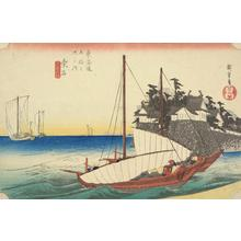 Utagawa Hiroshige: The Landing Entry of the Seven Ri Ferry at Kuwana, no. 43 from the series Fifty-three Stations of the Tokaido (Hoeido Tokaido) - University of Wisconsin-Madison