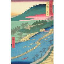歌川広重: The Weir in the Shallows at Yanase in Chikugo Province, no. 60 from the series Pictures of Famous Places in the Sixty-odd Provinces - ウィスコンシン大学マディソン校
