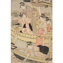 長喜: Women in Pleasure Boats on the Sumida River - ウィスコンシン大学マディソン校