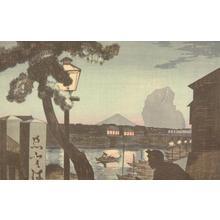 小林清親: Mt. Fuji at Twilight from Edobashi - ウィスコンシン大学マディソン校