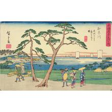 歌川広重: View of the Hill at Kanagawa from below Asama, no. 4 from the series Fifty-three Stations of the Tokaido (Gyosho Tokaido) - ウィスコンシン大学マディソン校