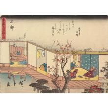 Utagawa Hiroshige: Ishibe, no. 52 from the series Fifty-three Stations of the Tokaido (Sanoki Half-block Tokaido) - University of Wisconsin-Madison