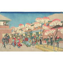 Utagawa Hiroshige: Cherry Blossoms at Yoshiwara, from the series Famous Places in Edo - University of Wisconsin-Madison