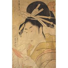 Ichirakutei Eisui: The Courtesan Tsukioka of the Hyogo Establishment, from a series of Bust Portraits of Courtesans - University of Wisconsin-Madison