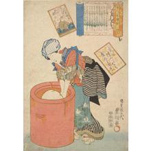 歌川国貞: Woman Kneading Rice Cake in Mortar; Illustration of a Verse by Prince Motoyoshi, no. 20 from the series A Collection of Pictures for the One-hundred Poems - ウィスコンシン大学マディソン校