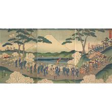 二歌川広重: A Procession of Women Through Cherry Blossoms - ウィスコンシン大学マディソン校