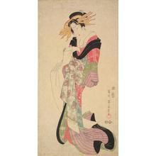 菊川英山: Geisha Holding a Letter - ウィスコンシン大学マディソン校
